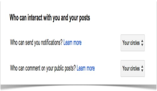 interactuar  con los circulos en google +